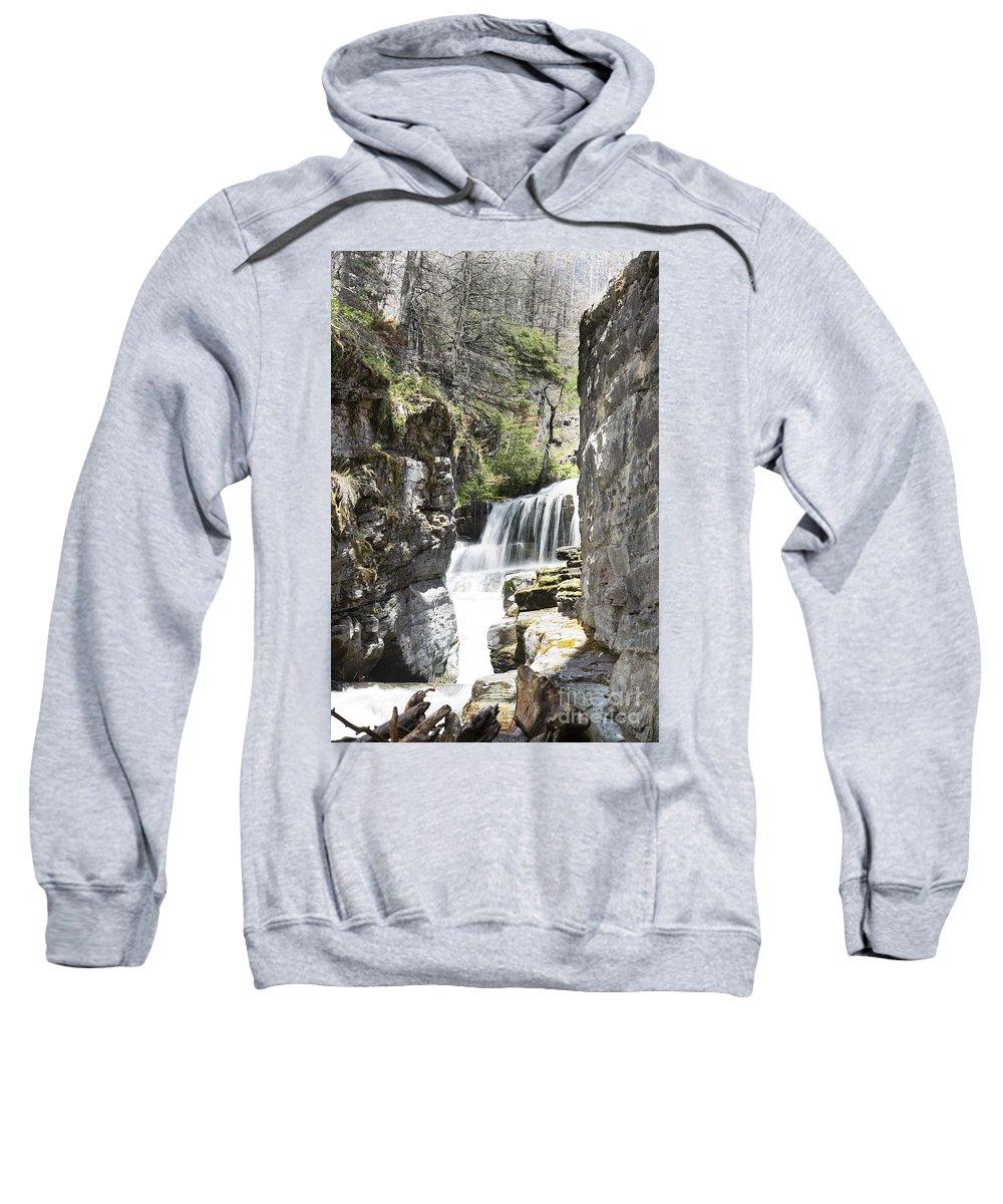 Glacier Park Sweatshirt featuring the photograph Sunriff Falls by Darryl Patrick