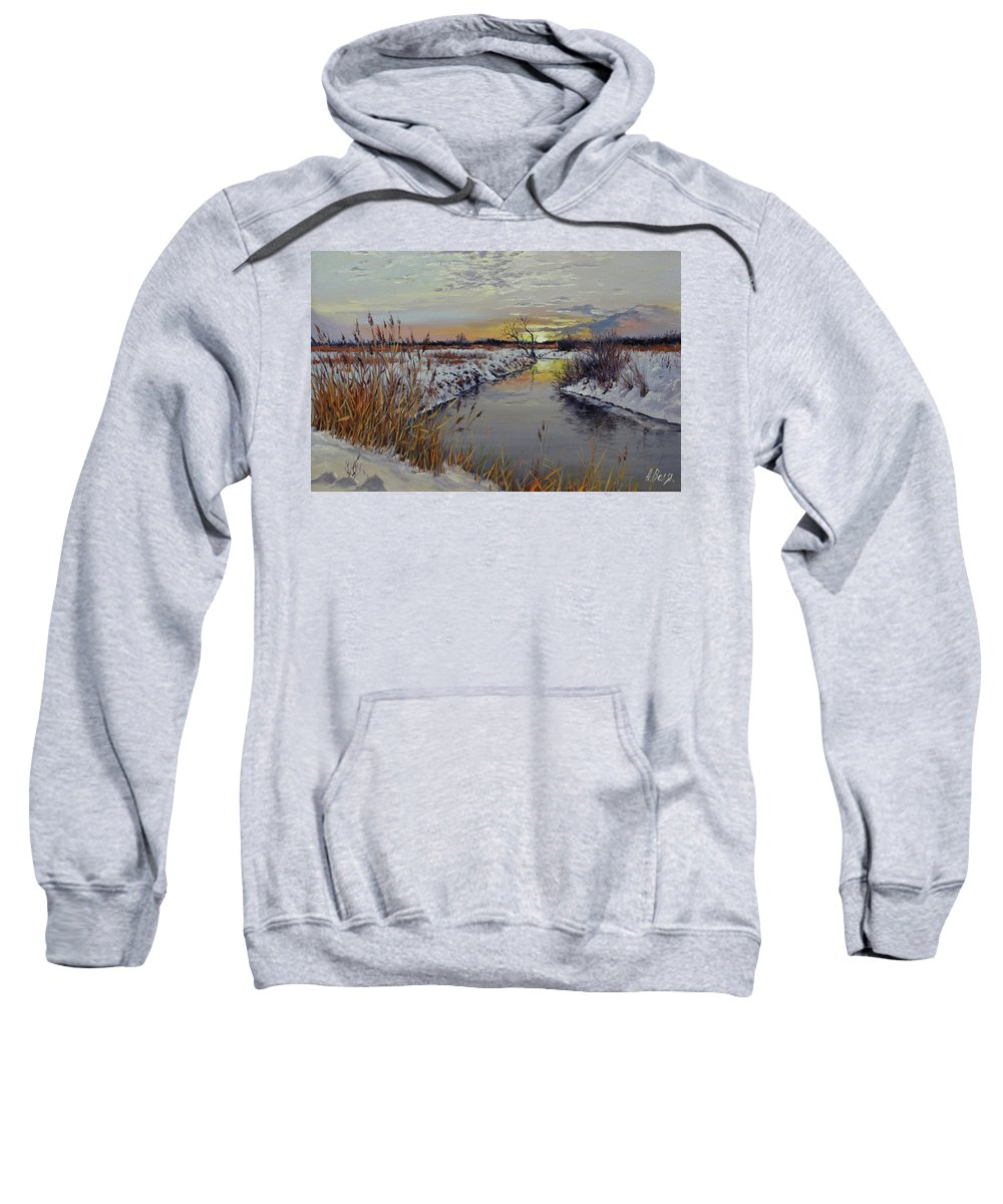 Winter Sweatshirt featuring the painting Sunrise by Alexander Volya