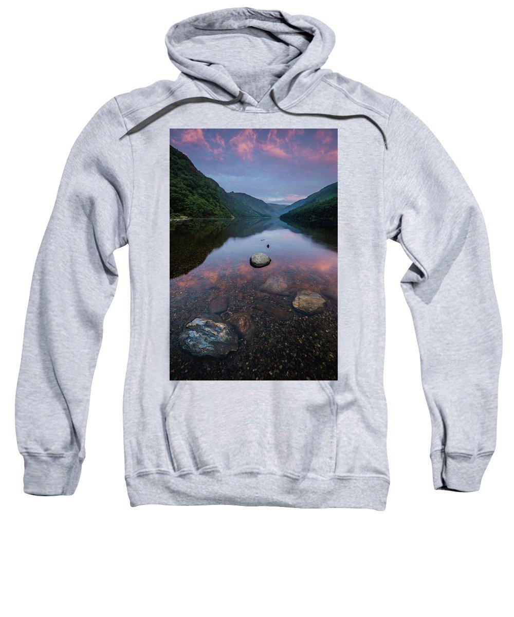 Sunrise Sweatshirt featuring the photograph Sunrise At Glendalough Upper Lake #2, County Wicklow, Ireland by Anthony Lawlor