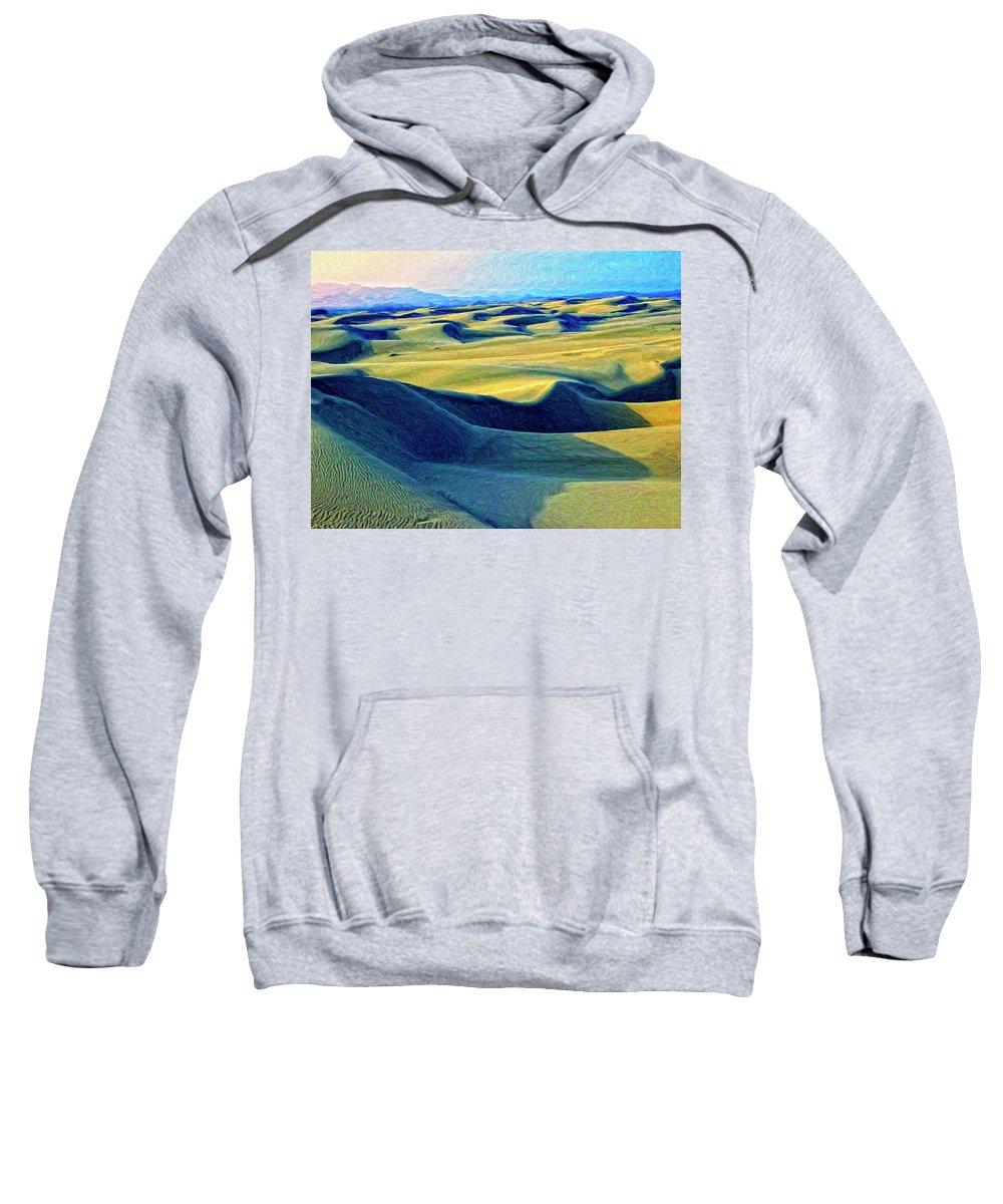 Sunrise At Oceano Sand Dunes Sweatshirt featuring the painting Sunrise At Oceano Sand Dunes by Dominic Piperata