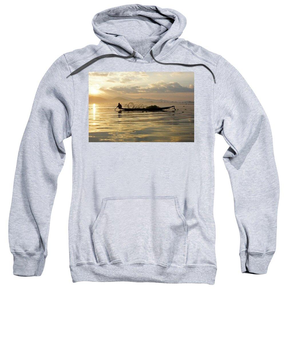 Asia Sweatshirt featuring the photograph Sunrise Fisherman by Michele Burgess