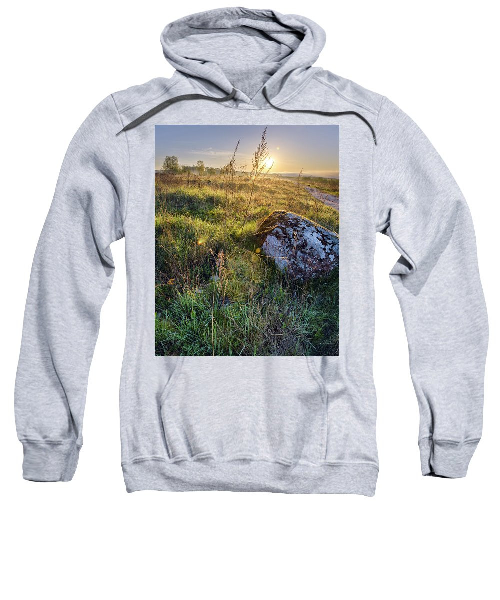 Sky Sweatshirt featuring the photograph Sunrise In Field. Stone In Front by Maya Afzaal