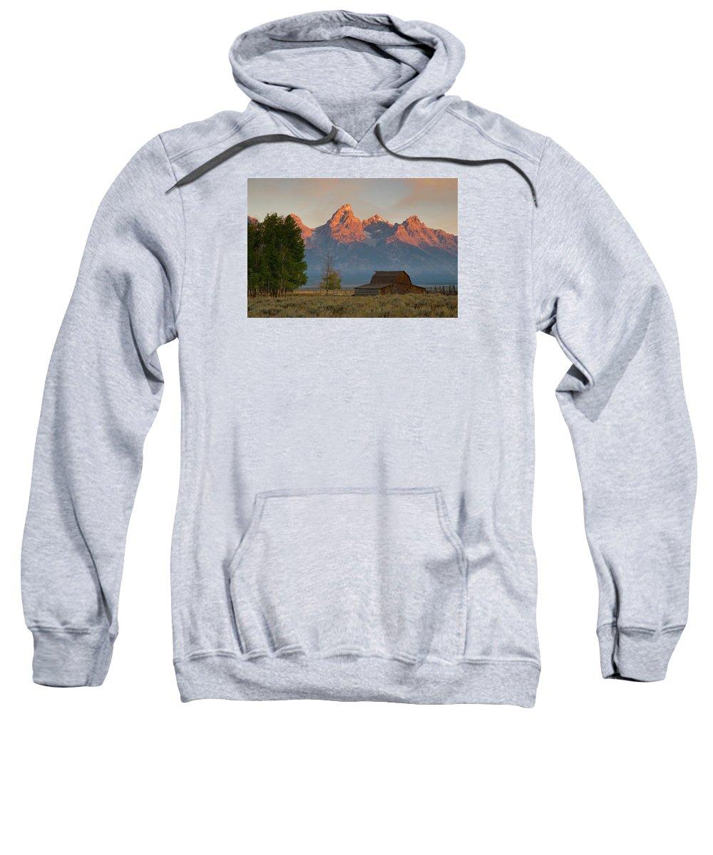 Grand Teton Sweatshirt featuring the photograph Sunrise In Jackson Hole by Steve Stuller