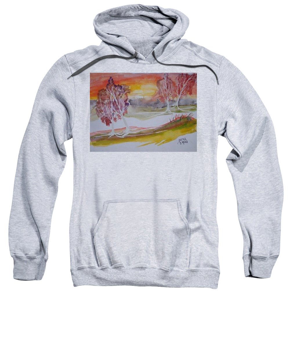 Impressionistic Sweatshirt featuring the painting Sunrise Surreal Modern Landscape Painting Fine Art Poster Print by Derek Mccrea