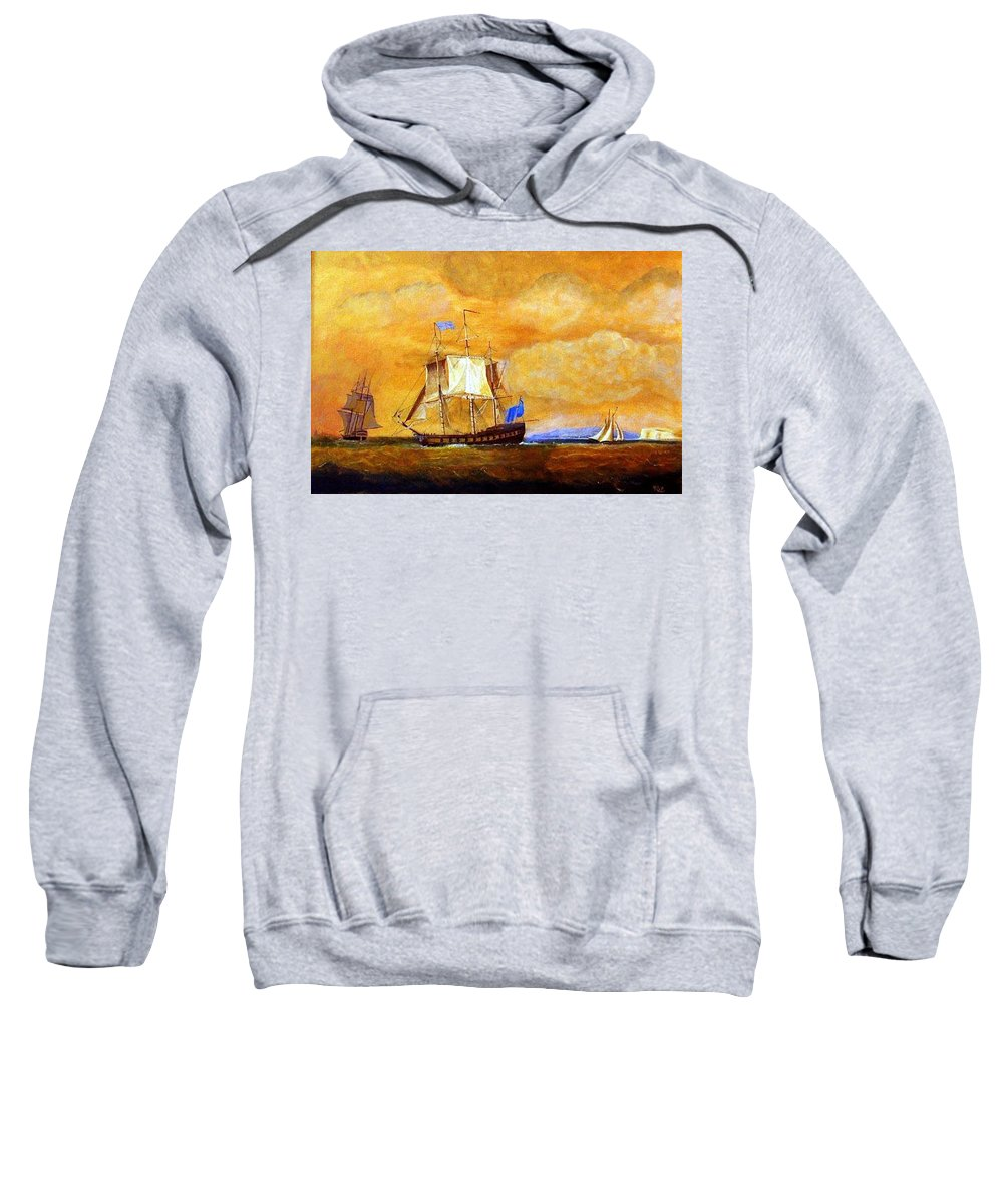 Sunset Sweatshirt featuring the painting Sunset And Ships by Richard Le Page