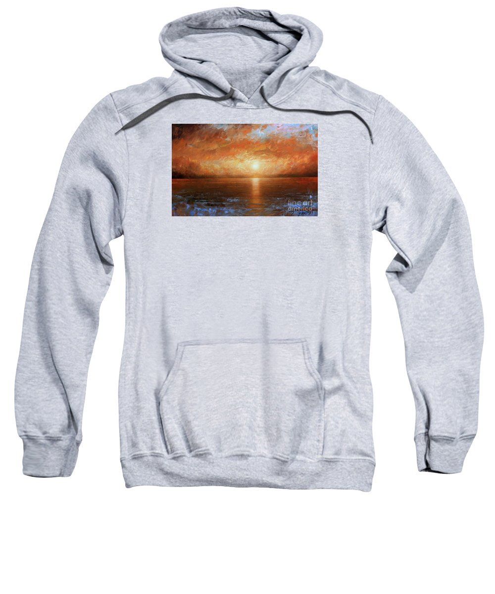 Landscape Sweatshirt featuring the painting Sunset by Arthur Braginsky
