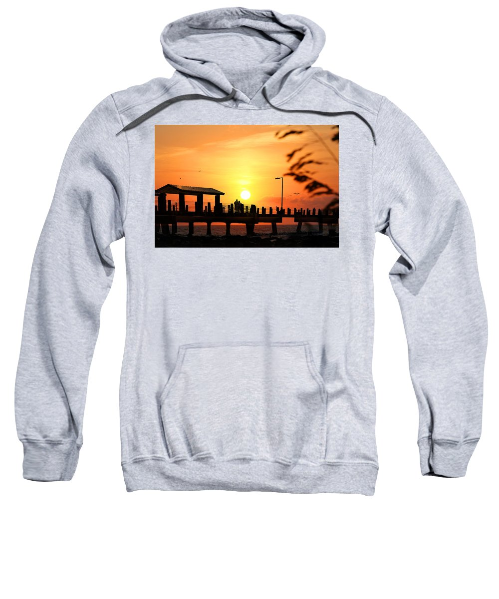 Fort De Soto Sweatshirt featuring the photograph Sunset At Fort De Soto Fishing Pier Pinellas County Park St. Petersburg Florida by Mal Bray