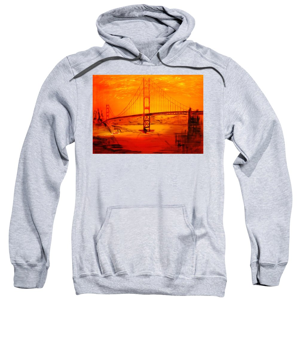 Sunset At Golden Gate Sweatshirt featuring the painting Sunset At Golden Gate by Helmut Rottler