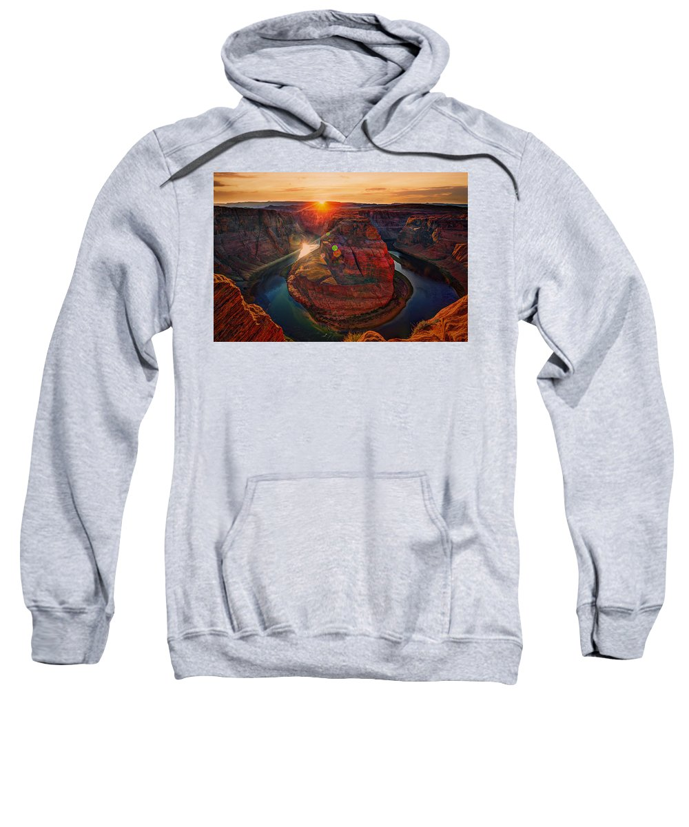 Arizona Sweatshirt featuring the photograph Sunset At Horseshoe Bend by Paul Sommers