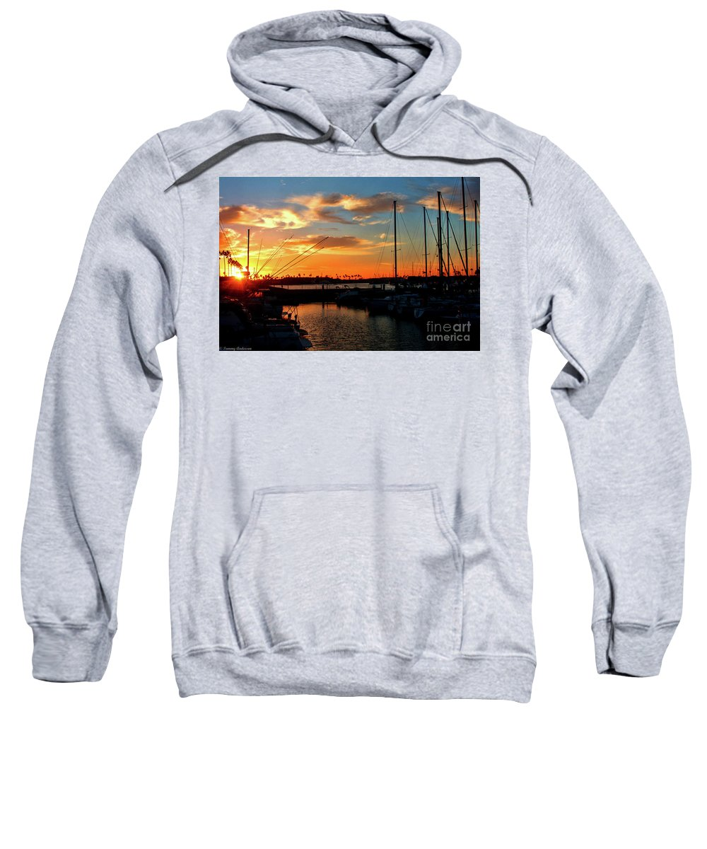 California Sweatshirt featuring the photograph Sunset At Newport Beach Harbor by Tommy Anderson