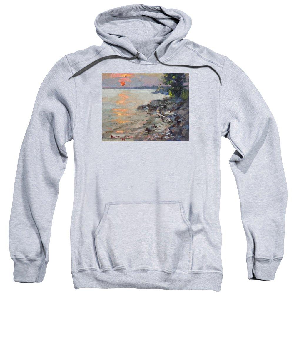 Sunset Sweatshirt featuring the painting Sunset At Niagara River by Ylli Haruni