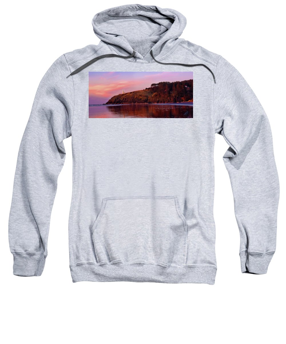 Sunset Sweatshirt featuring the photograph Sunset At North Head Lighthouse by Jeanette Mahoney