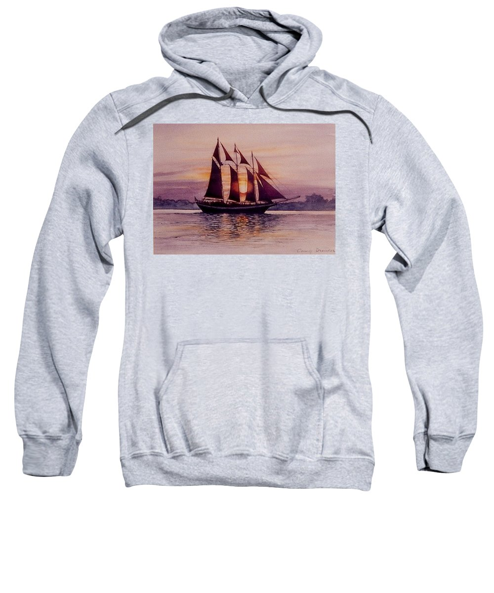 Ship Sweatshirt featuring the mixed media Sunset At Sea by Constance Drescher