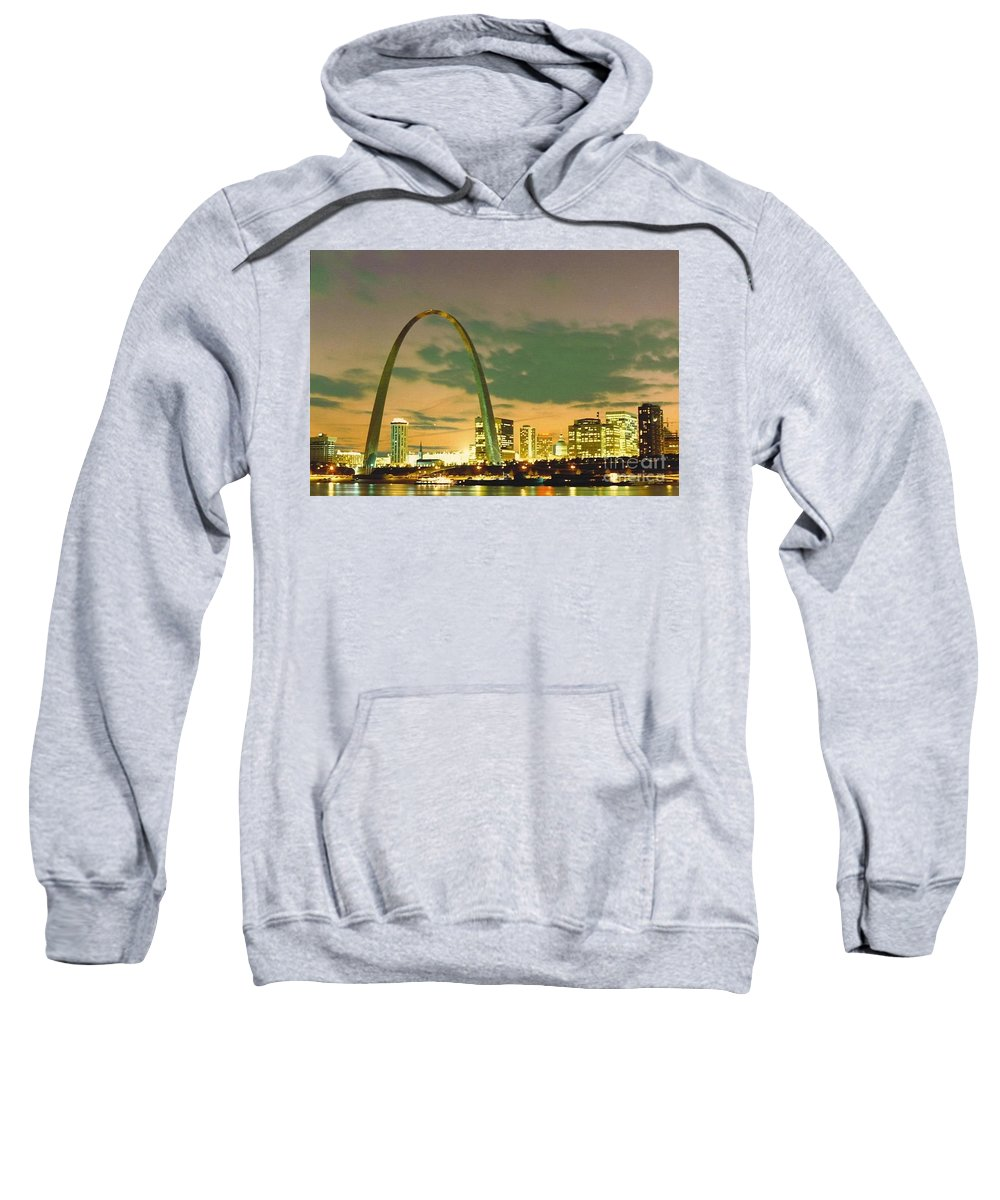 Downtown Sweatshirt featuring the photograph Sunset At The St. Louis Arch by Dwayne Pounds