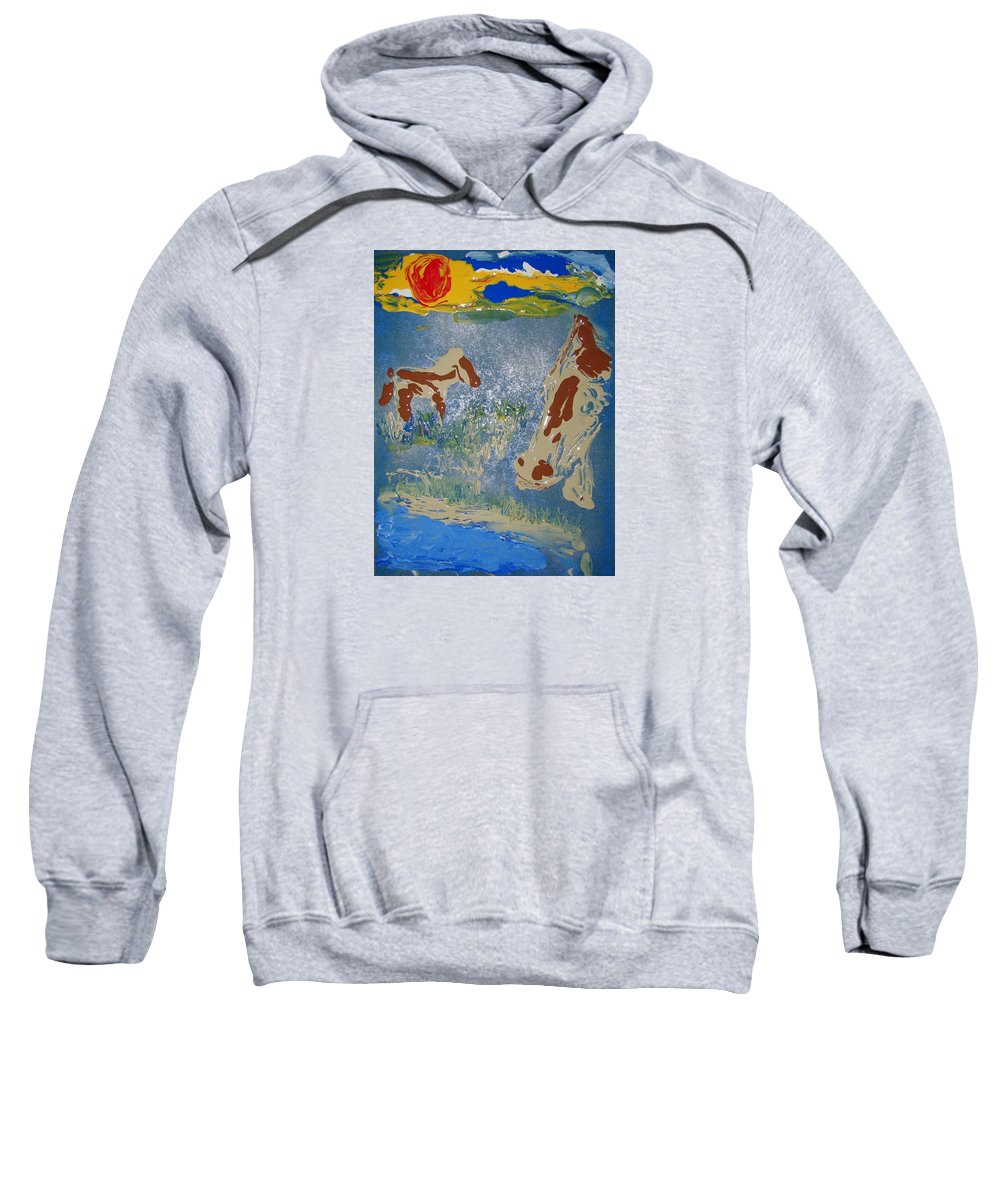 Impressionism Sweatshirt featuring the painting Sunset At The Watering Hole by J R Seymour