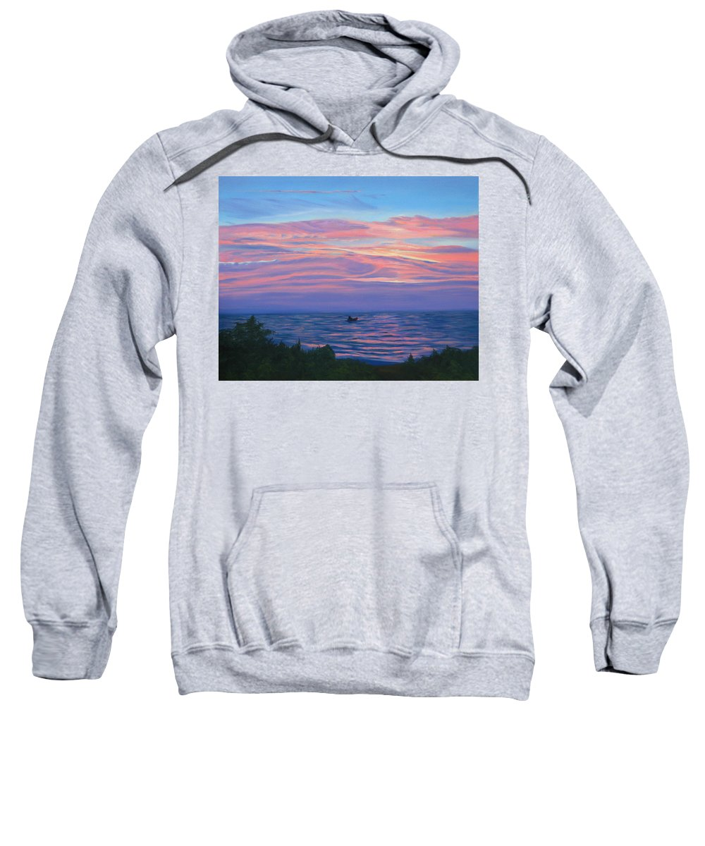 Seascape Sweatshirt featuring the painting Sunset Bay by Lea Novak