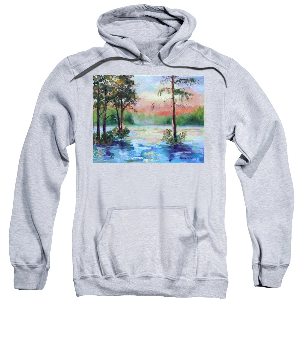 Sunset Sweatshirt featuring the painting Sunset Bayou by Ginger Concepcion