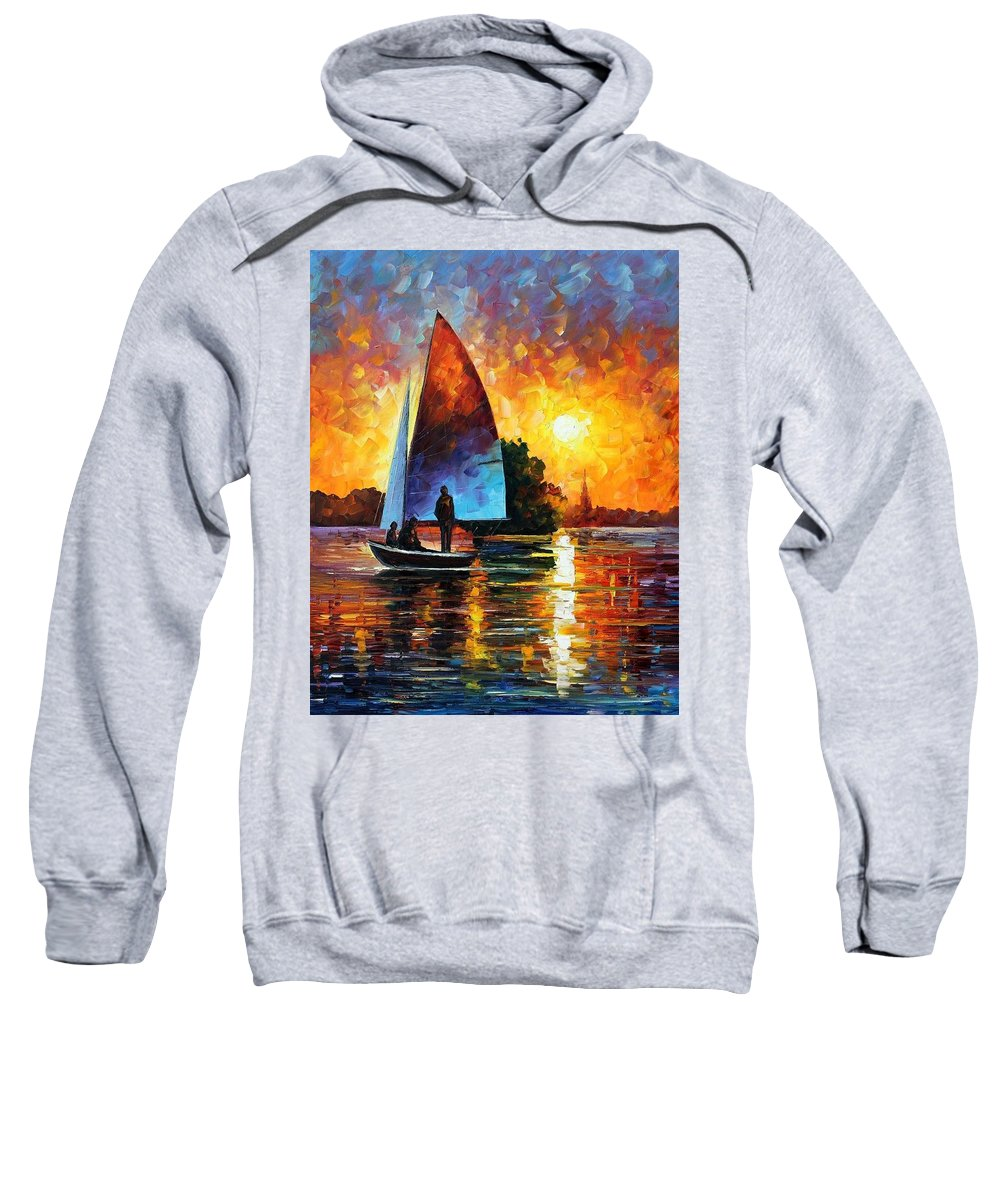 Afremov Sweatshirt featuring the painting Sunset By The Lake by Leonid Afremov