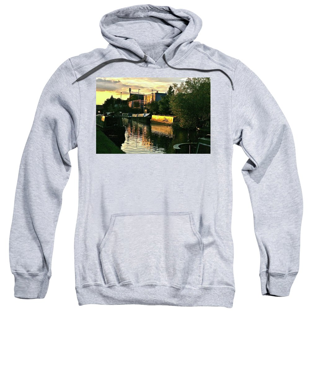 Canal Sweatshirt featuring the photograph Sunset Canal Reflections by Steve Swindells