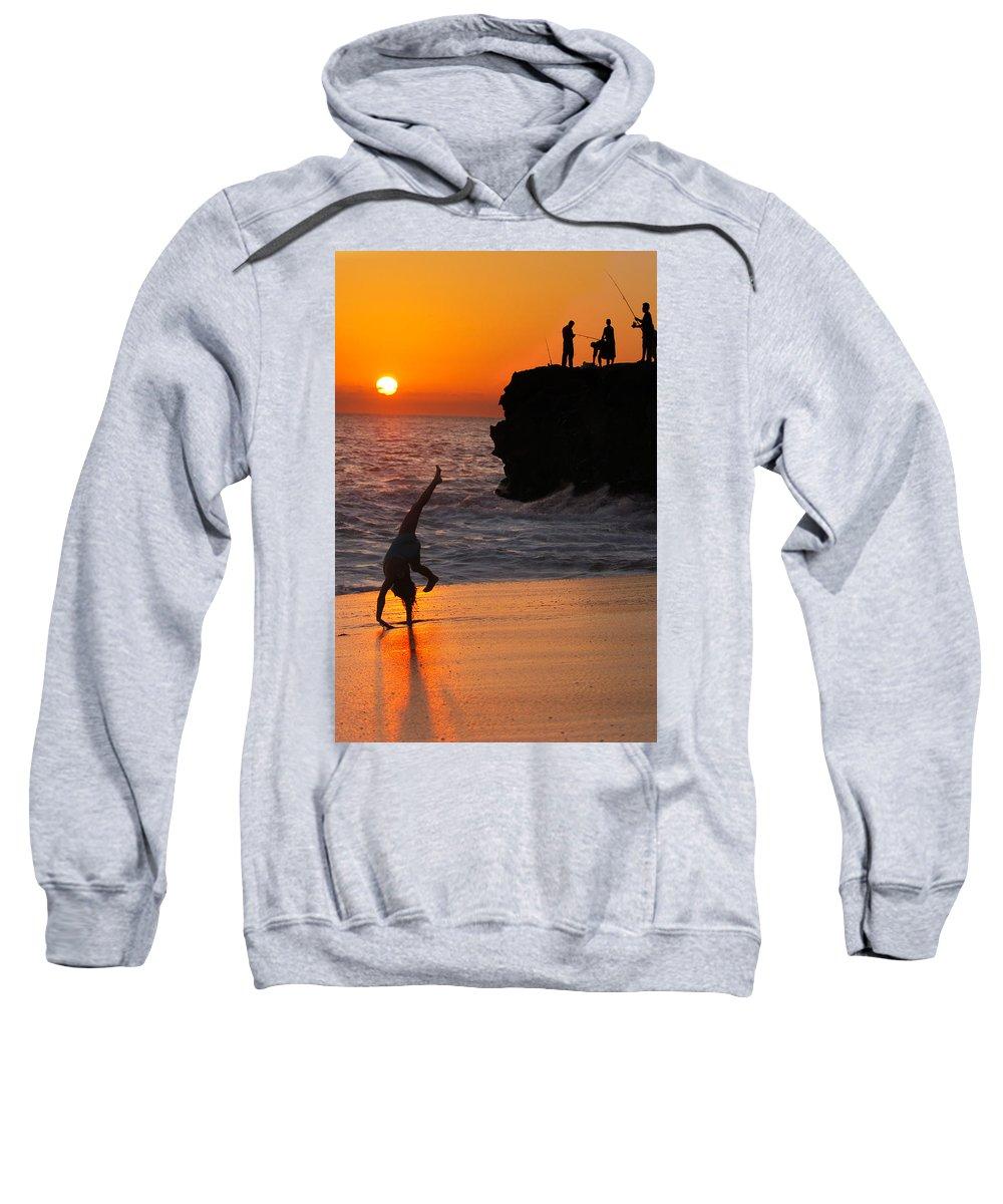 Beach Sweatshirt featuring the photograph Sunset Cartwheel by Jill Reger