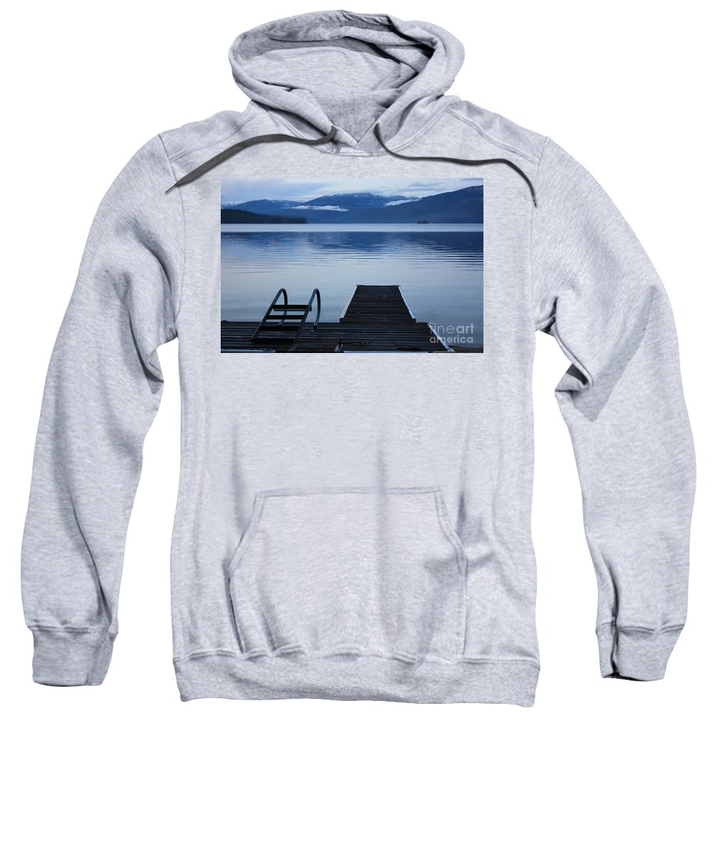 Priest Lake Sweatshirt featuring the photograph Sunset Dock At Priest Lake by Carol Groenen