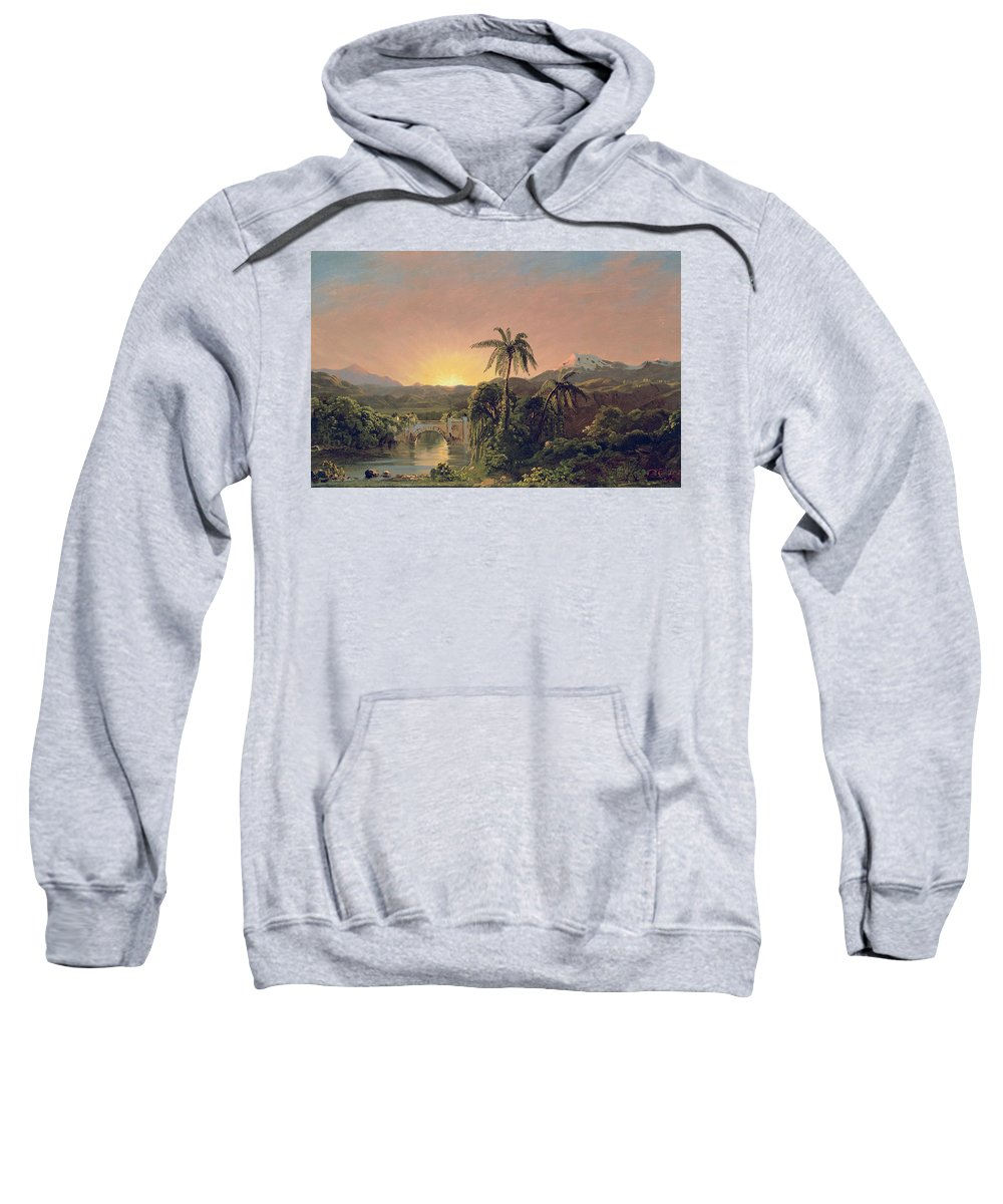 Sunset Sunset In Equador (oil On Canvas) By Frederic Edwin Church (1826-1900) Sweatshirt featuring the painting Sunset In Equador by Frederic Edwin Church
