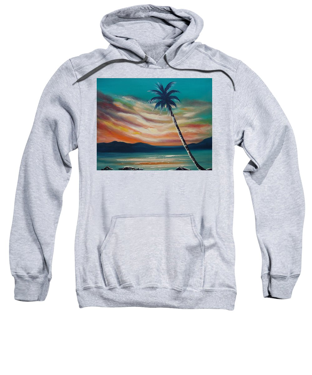 Sunset Sweatshirt featuring the painting Sunset In Paradise by Gina De Gorna
