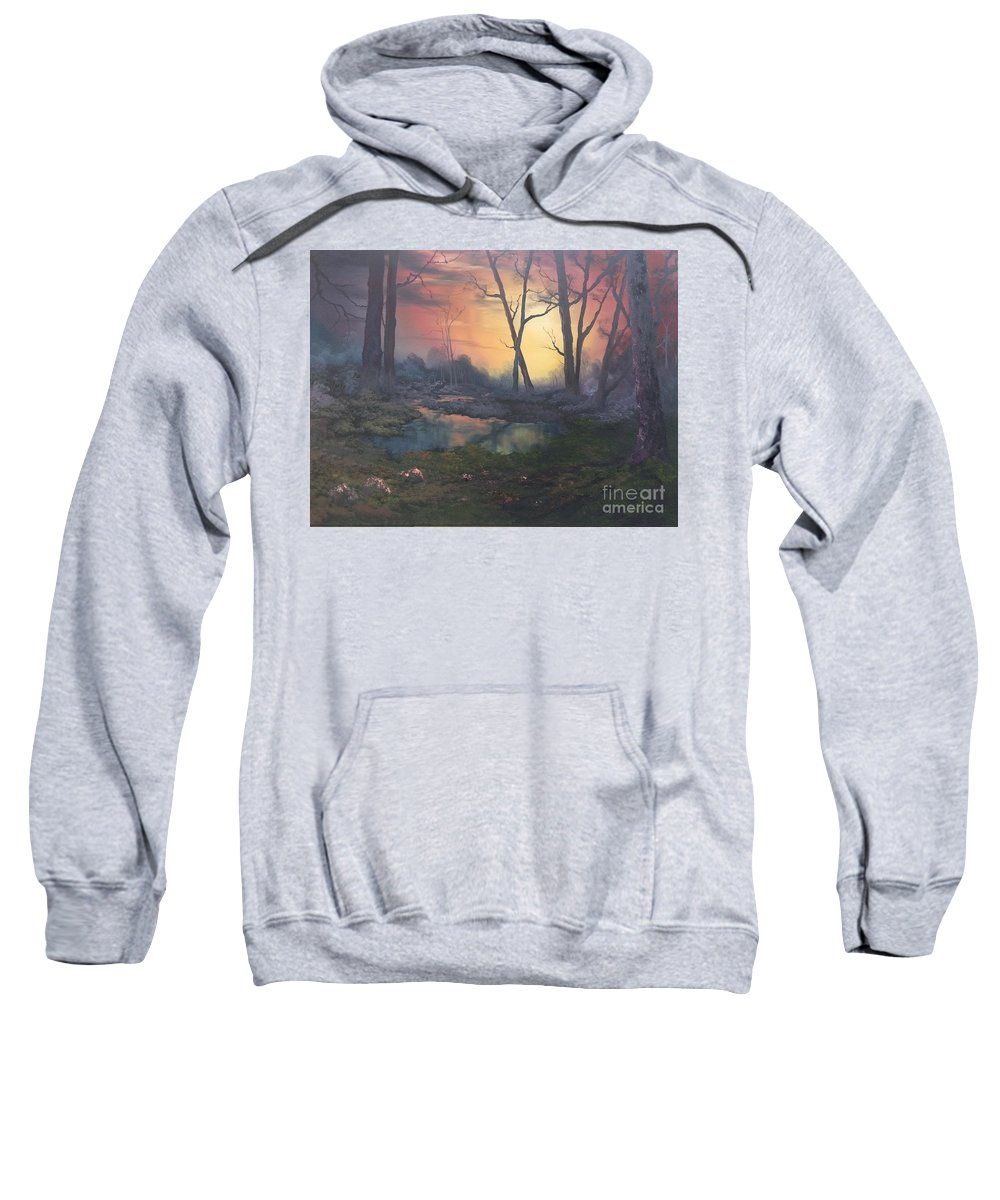 Forest Sweatshirt featuring the painting Sunset On Cannock Chase by Jean Walker
