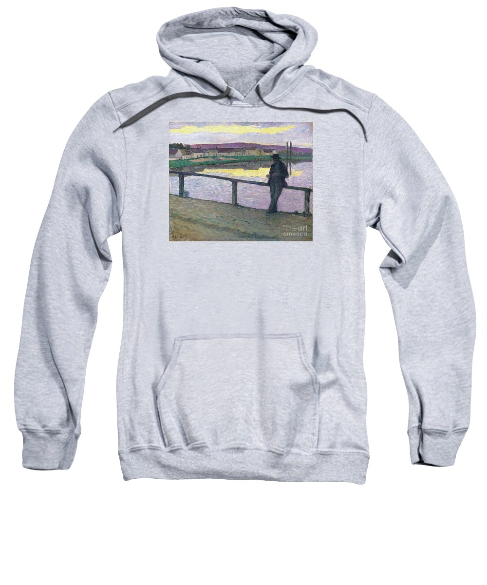 Sunset On Pont-aven (young Man In Front Of The Sea) Sweatshirt featuring the painting Sunset On Pont by MotionAge Designs