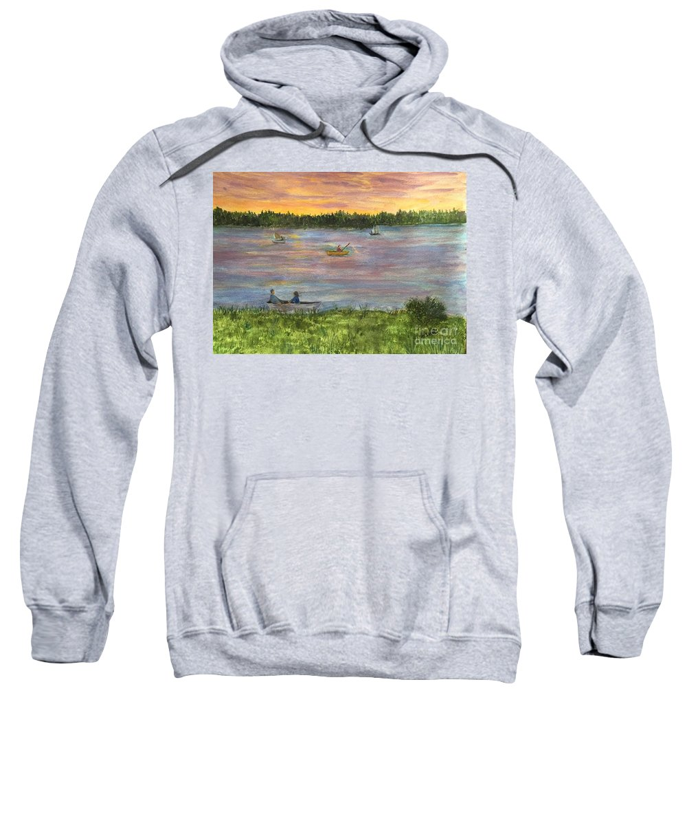 Amesbury Sweatshirt featuring the painting Sunset On The Merrimac River by Anne Sands