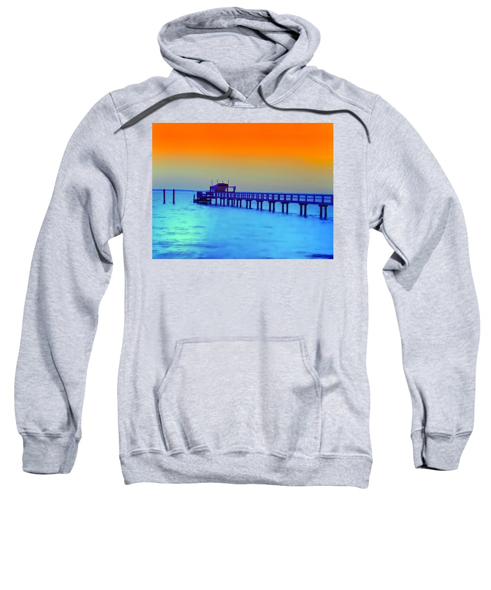 Florida Sweatshirt featuring the photograph Sunset On The Pier by Bill Cannon