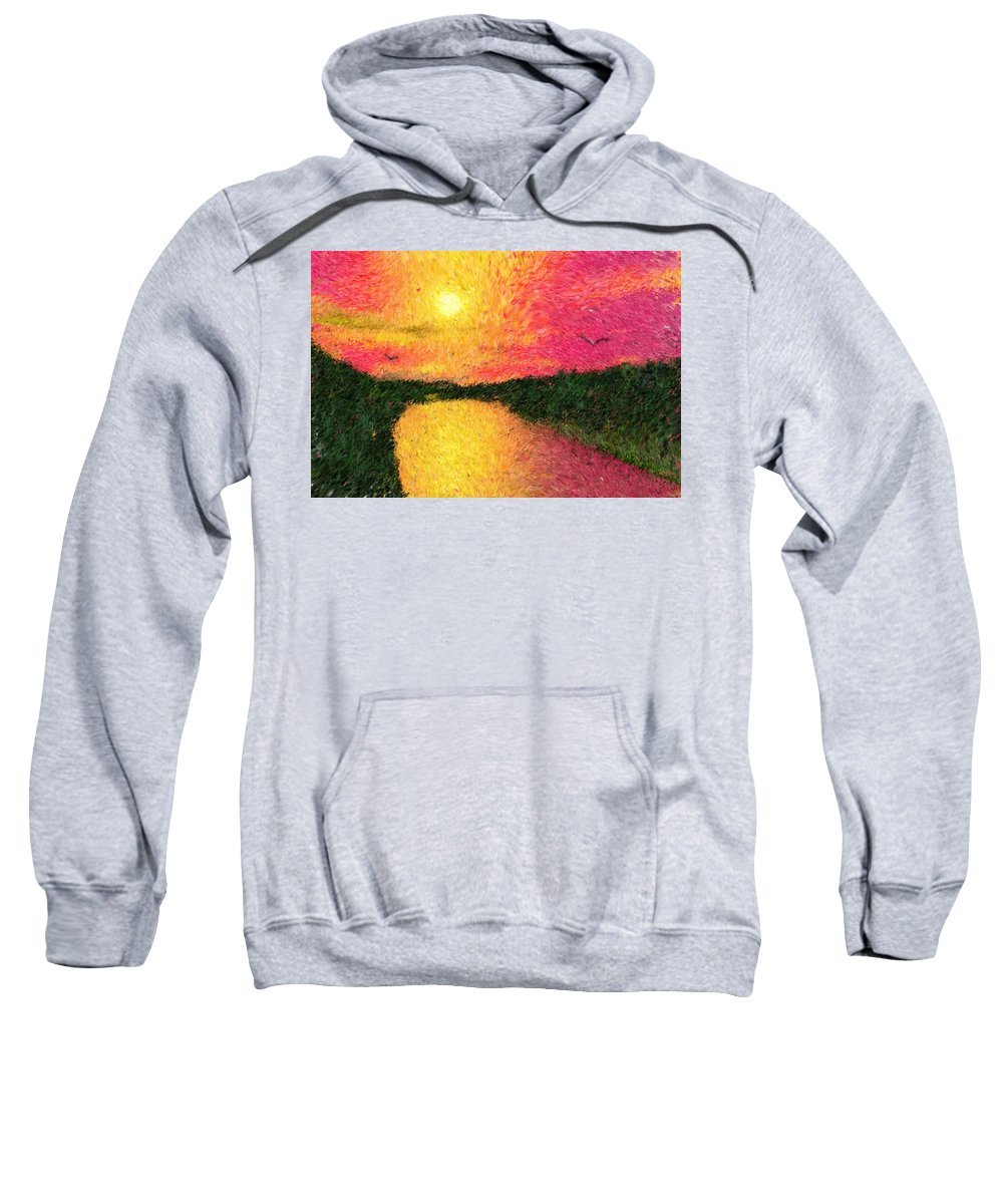 Digital Art Sweatshirt featuring the digital art Sunset On The River by David Lane