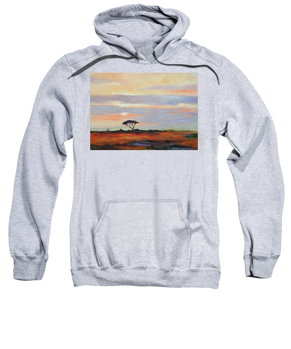 Landscape Sweatshirt featuring the painting Sunset On The Serengheti by Ginger Concepcion