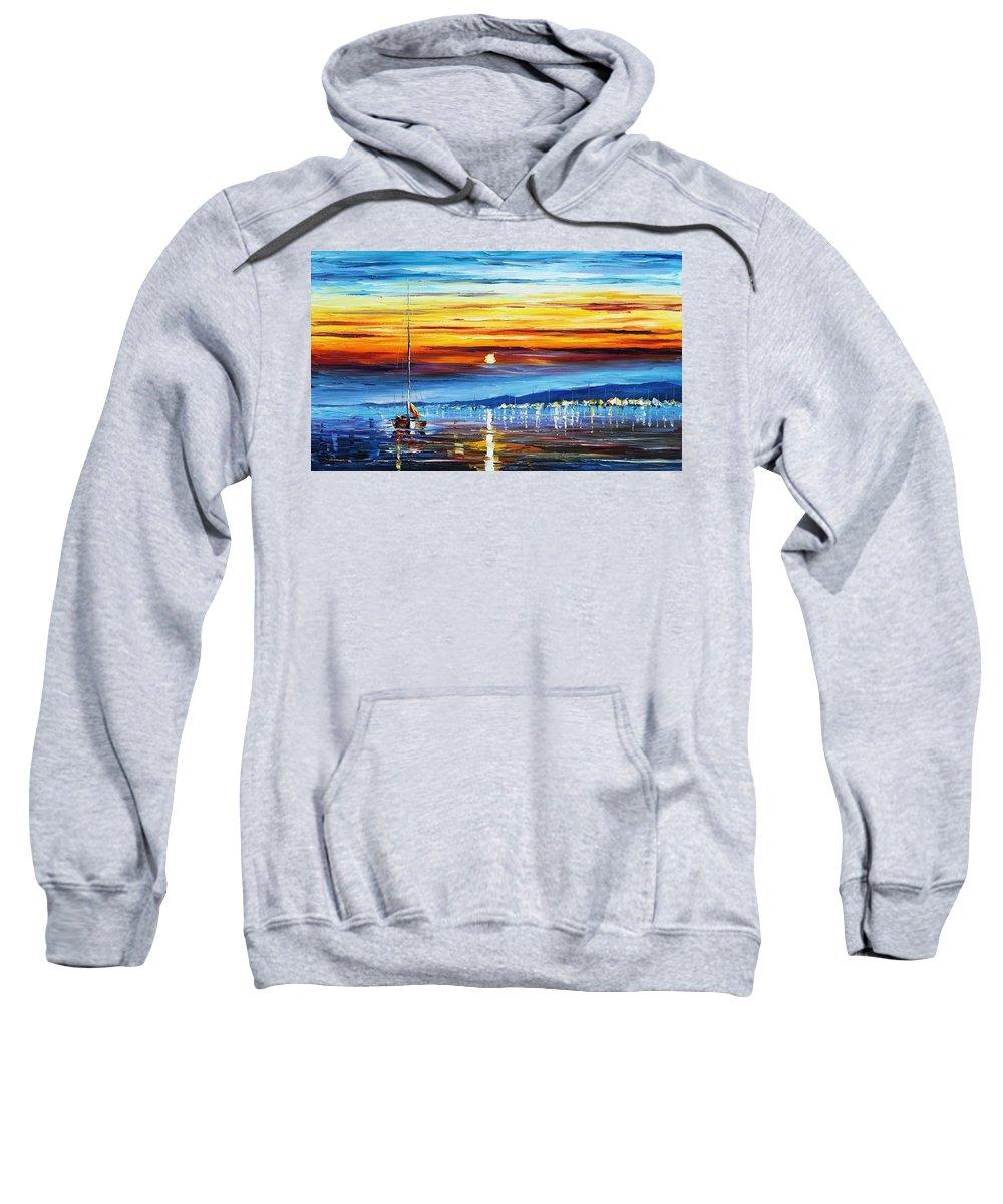 Afremov Sweatshirt featuring the painting Sunset Over California by Leonid Afremov