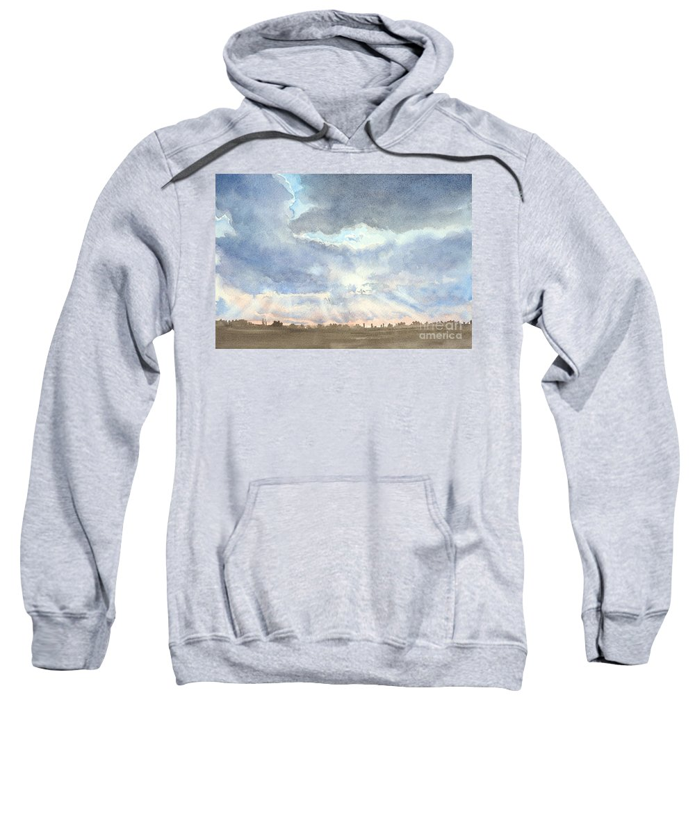 Landscape Sweatshirt featuring the painting Sunset Over Wharton County by Karen Boudreaux