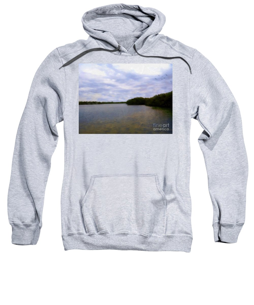 River Sweatshirt featuring the painting Sunset River by RC DeWinter