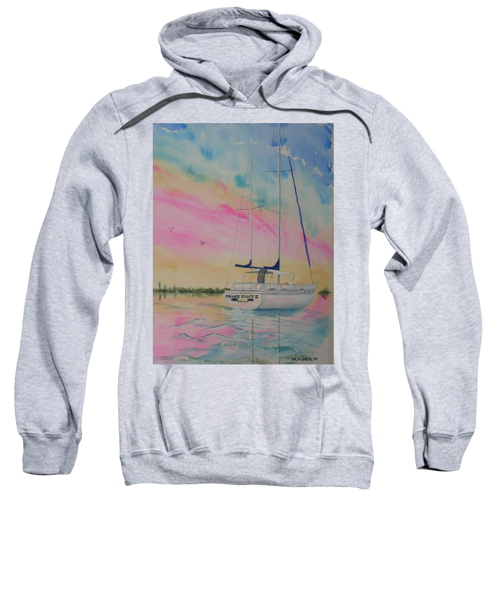 Sunset Sail 3 Sweatshirt featuring the painting Sunset Sail 3 by Warren Thompson