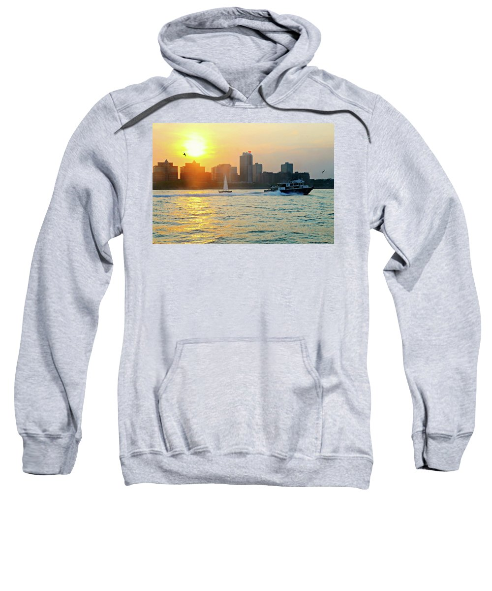 New York City Sweatshirt featuring the photograph Sunset Sail by Diana Angstadt