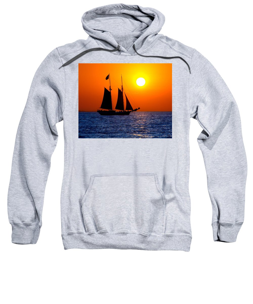 Yellow Sweatshirt featuring the photograph Sunset Sailing In Key West Florida by Michael Bessler
