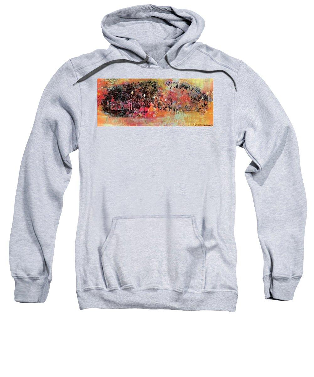 Neighborhood Street Sweatshirt featuring the photograph Sunset Saunter by Ellen Cannon