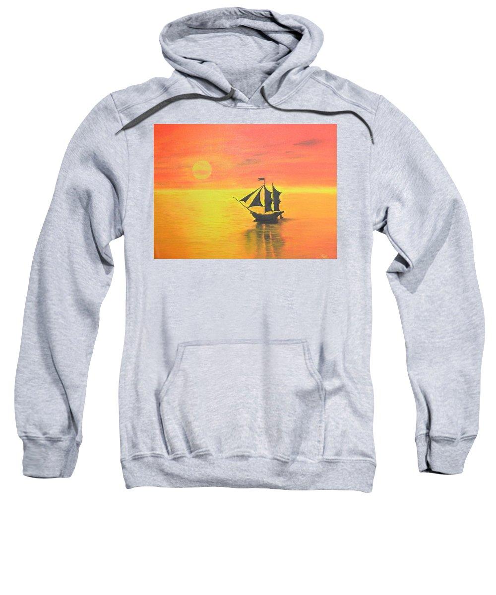 Sunrise Sweatshirt featuring the painting Sunrise Sea Ship Sss by Riya Rathore