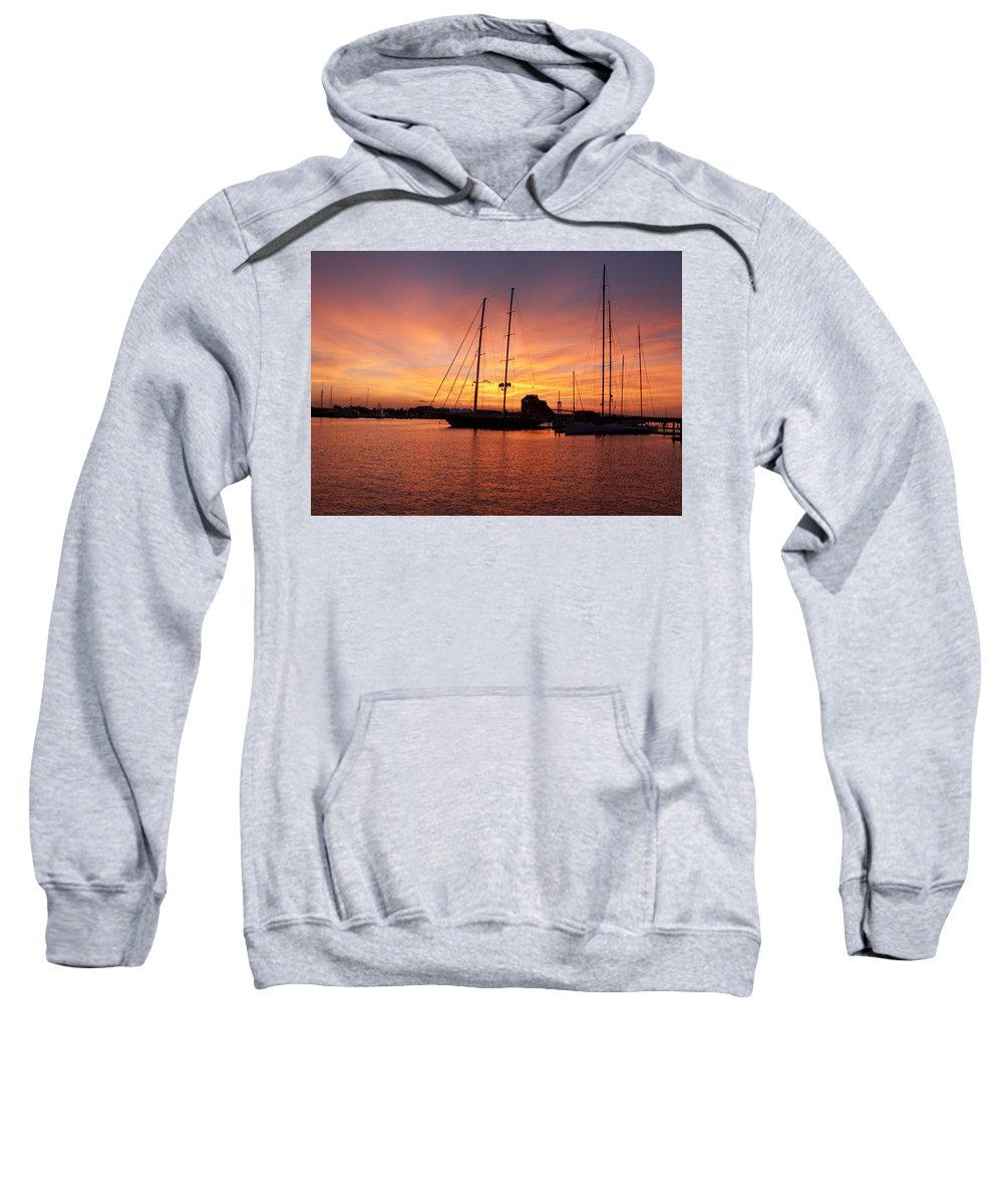 Sunset Sweatshirt featuring the photograph Sunset Tall Ships by Steven Natanson