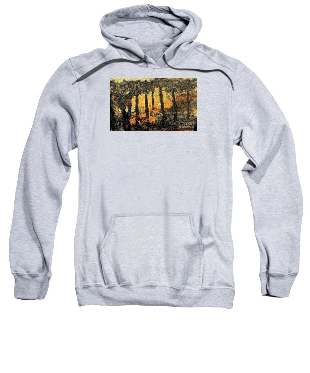 Abstract Sweatshirt featuring the mixed media Sunset Through The Trees by Sharon Eng