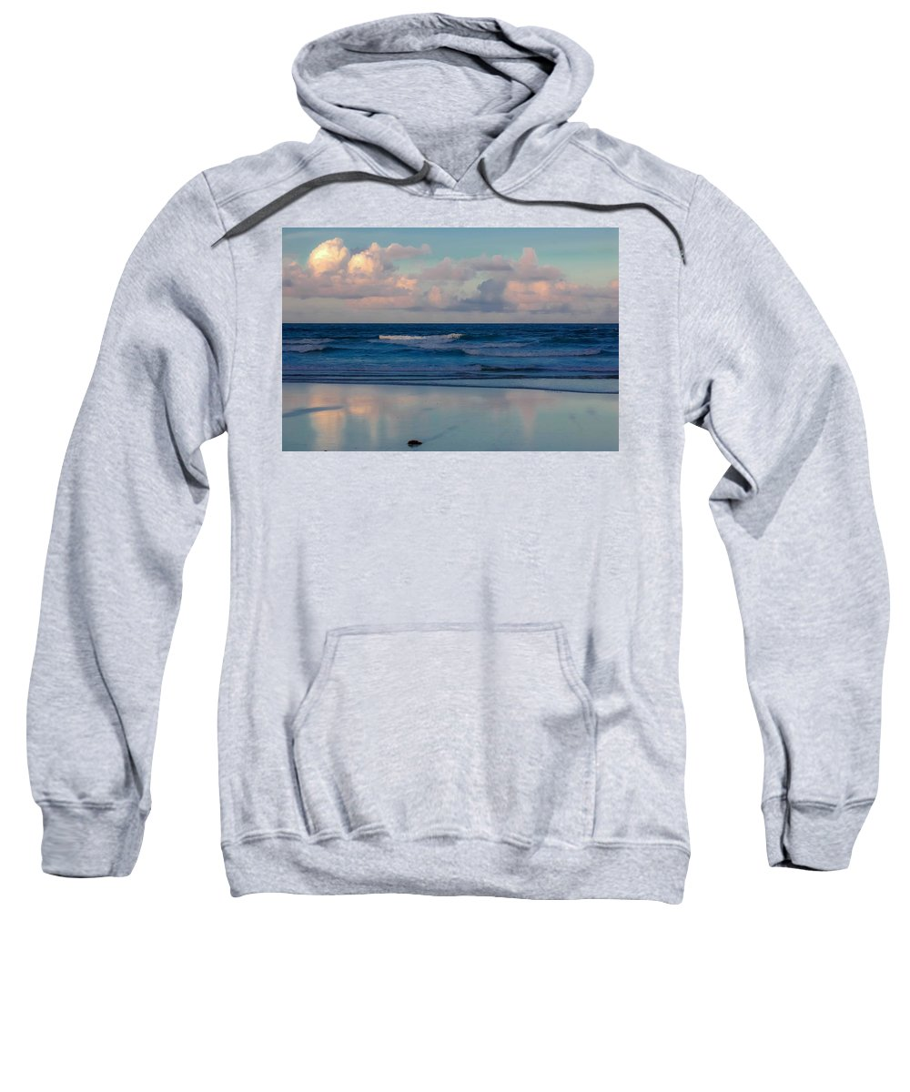 Ocean Sweatshirt featuring the digital art Sunset Tides by DigiArt Diaries by Vicky B Fuller