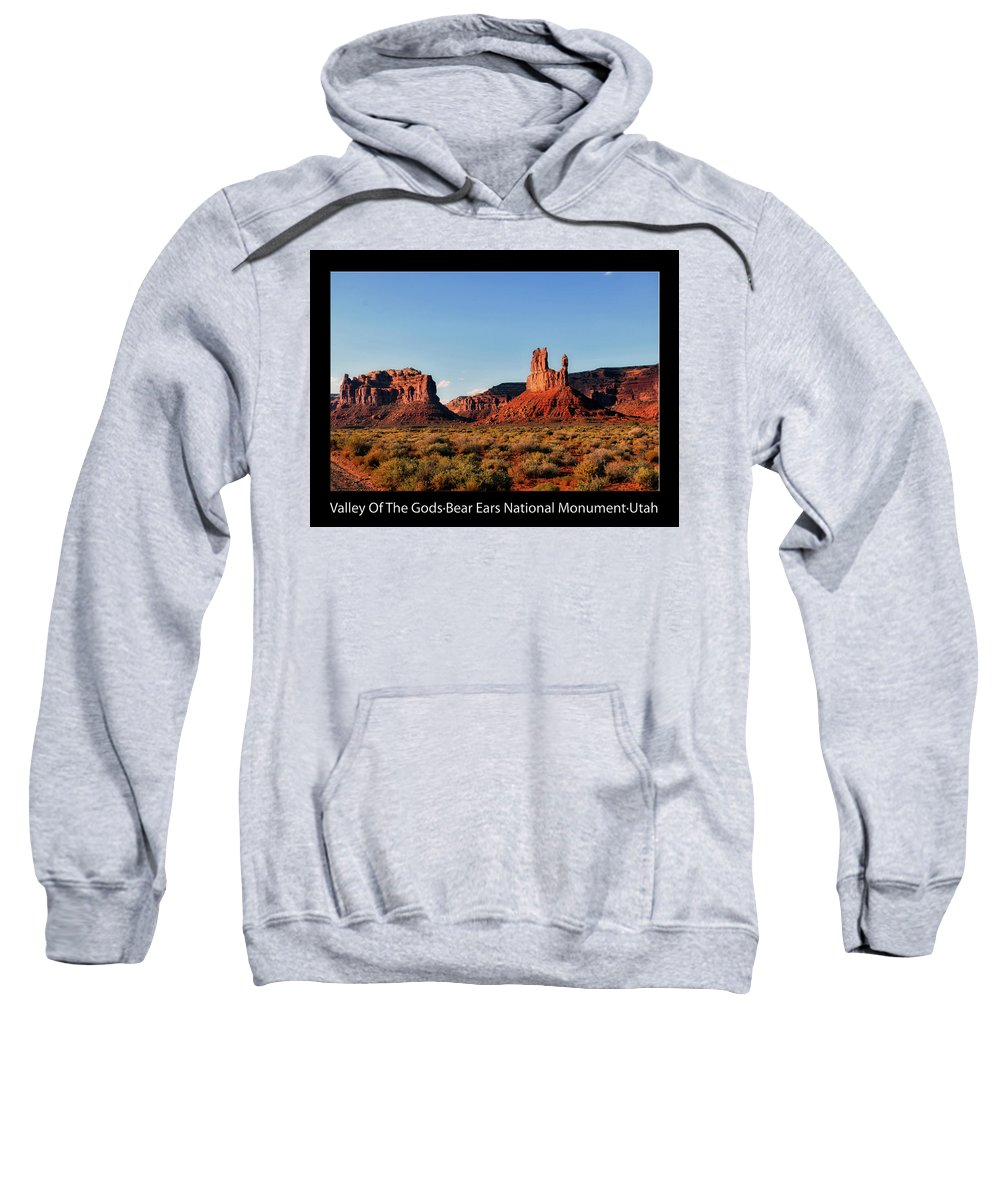 Valley Of The Gods Sweatshirt featuring the photograph Sunset Tour Valley Of The Gods Utah Text 09 Black by Thomas Woolworth