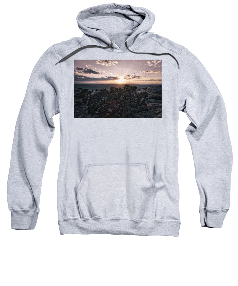Valley Of The Gods Sweatshirt featuring the photograph Sunset Valley Of The Gods Utah 01 B by Thomas Woolworth