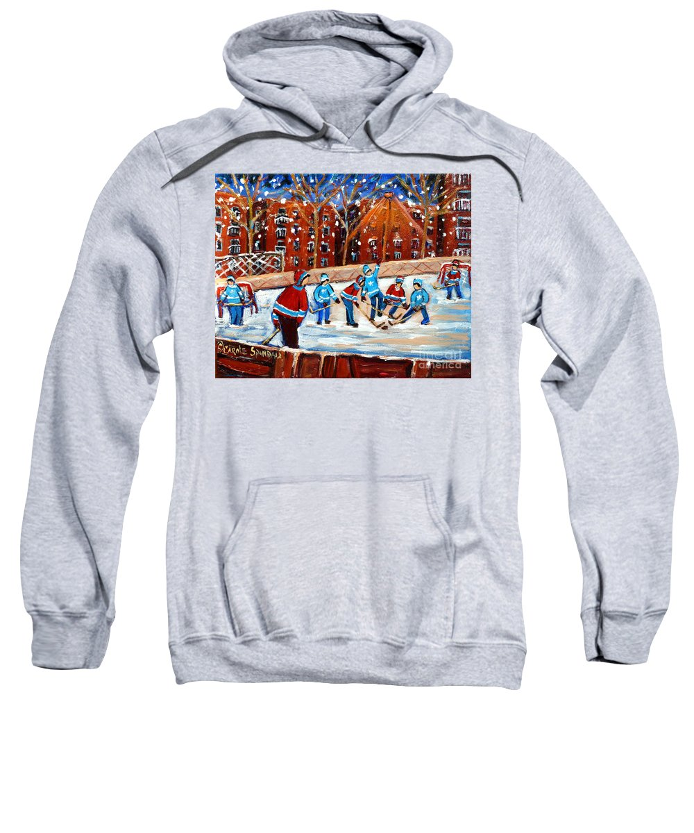 Kids Playing Hockey Sweatshirt featuring the painting Sunsetting On My Street by Carole Spandau