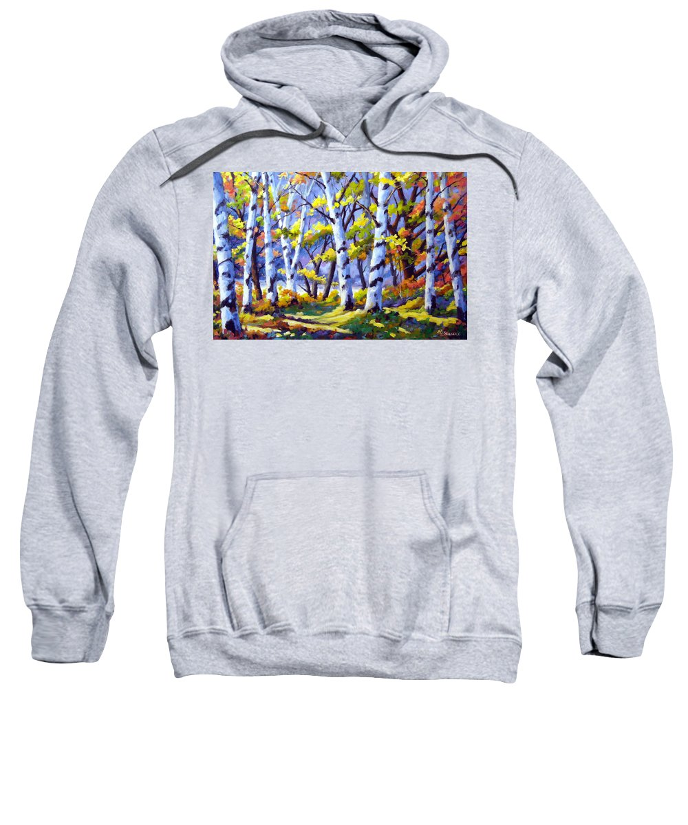 Art Sweatshirt featuring the painting Sunshine And Birches by Richard T Pranke