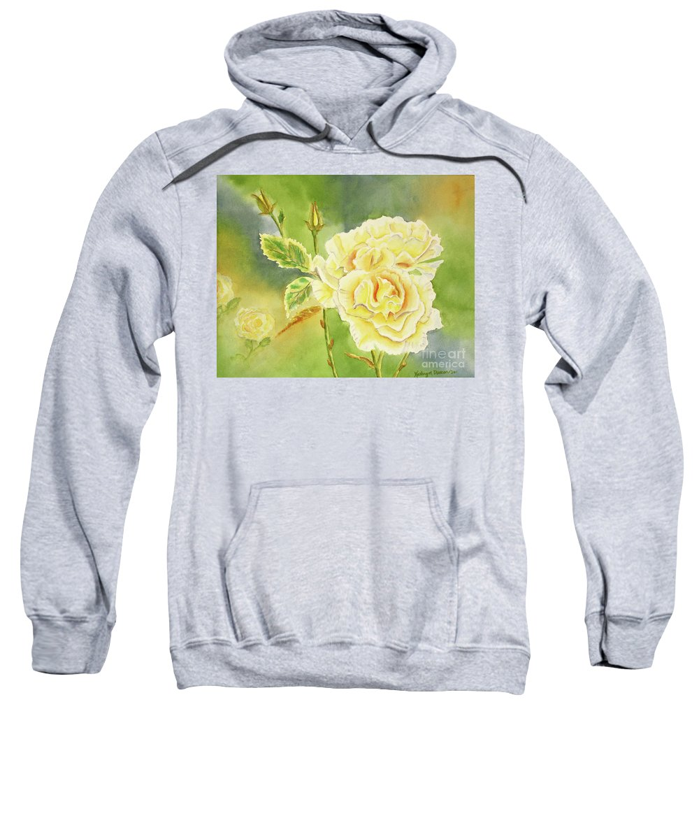 Yellow Sweatshirt featuring the painting Sunshine And Yellow Roses by Kathryn Duncan