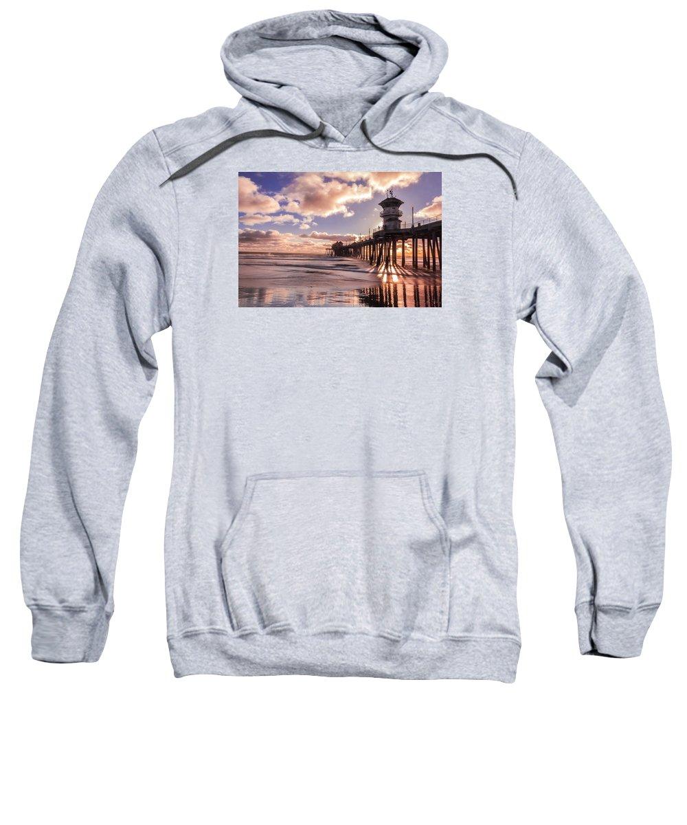 Sunset Sweatshirt featuring the photograph Sunshine Pier by Ann Michelle Smith